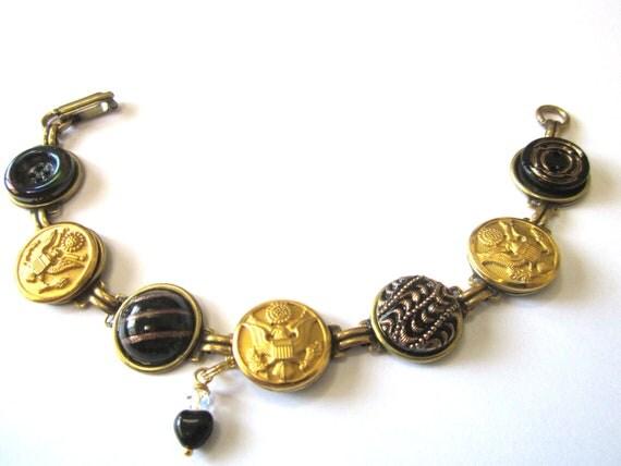 WEST POINT, ARMY antique button bracelet, Army uniform buttons, Black & Gold. Glass heart dangle