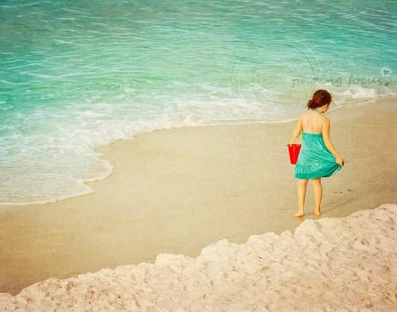 Girl at Beach Photo, Portrait Art Princess Amelia Childrens Room Decor, Red Bucket Dreamy Aqua Blue Sea Tan Sand, Gulf Coast Photography