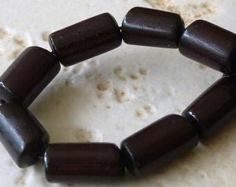 Buri Nut Round Tube Beads 11x6mm to 13x8mm - 15 - Dark Chocolate Brown - BT2