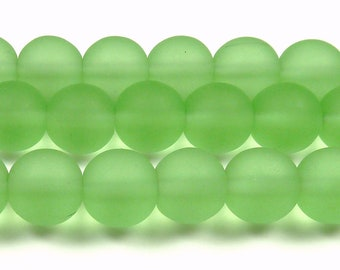 10mm Peridot Green Matte Sea Glass Round Beads - 8 Inch Strand - Frosted Beach Glass - BE35