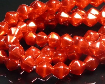 6mm Tangerine Red Pearl Coated Bicone Czech Glass Beads - 30pcs - BD42