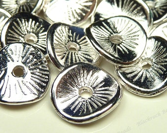 Bulk 60 Antique Silver Tone 9x8mm Wavy Metal Spacer Beads - Textured, Rondelles, Spacers - BH5