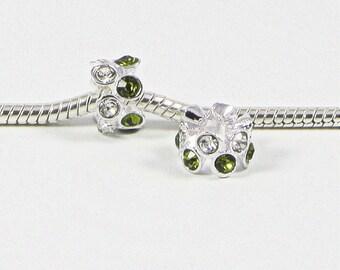 3 Beads - Green Crystal Rhinestone Silver European Bead Charm E0677