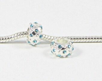 3 Beads - Blue Rhinestone Silver European Bead Charm E0696