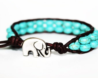 elephant bracelet, lucky elephant jewelry, turquoise blue jewelry, animal jewelry, beaded leather bracelet