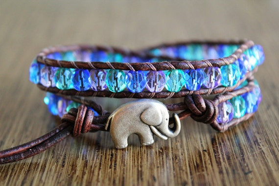 Elephant Bracelet, Leather Beaded Wrap Bracelet 2x, Multicolor Bracelet, Summertime Jewelry, Good Luck Elephant - 25% OFF SALE
