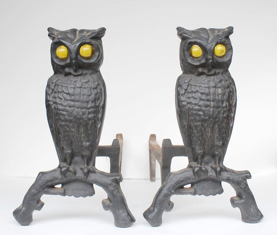 Vintage Cast Iron Owl Andirons with Amber Yellow Glass Eyes that Glow with a Fire