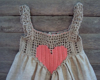 Summer baby dress Organic, Hand Crocheted Baby Love Sundress./crochet baby linen dress/rustic baby sundress