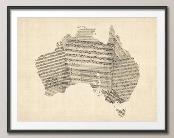 Old Sheet Music Map of Australia Map, Art Print (926)