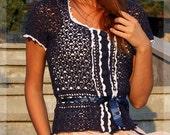 Replica of Kate Middleton Royal blouse .Crochet blouse. Inspired by Kate Middleton. Cambridge ,Blouse for Princess- Kate's Blouse