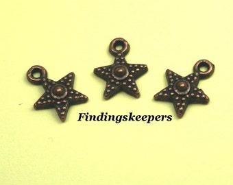 8 Star Charms Copper Tone Metal 12 x 9 mm - cc011