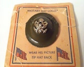 SPECIAL LISTING For KIMBERLY -Military Helmet, Brooch, Enamel, Rare, Collection, Flags, American, Eagle, Green, Hat, War Memorabilia