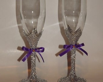 Rhinestone Bling Champagne Flutes Toasting Bridal Glasses