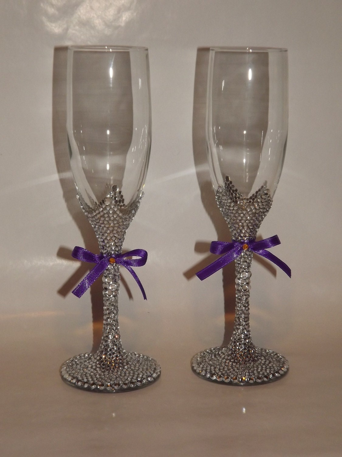 Sparkly Bling Nails: Rhinestone Bling Champagne Flutes Toasting Bridal By