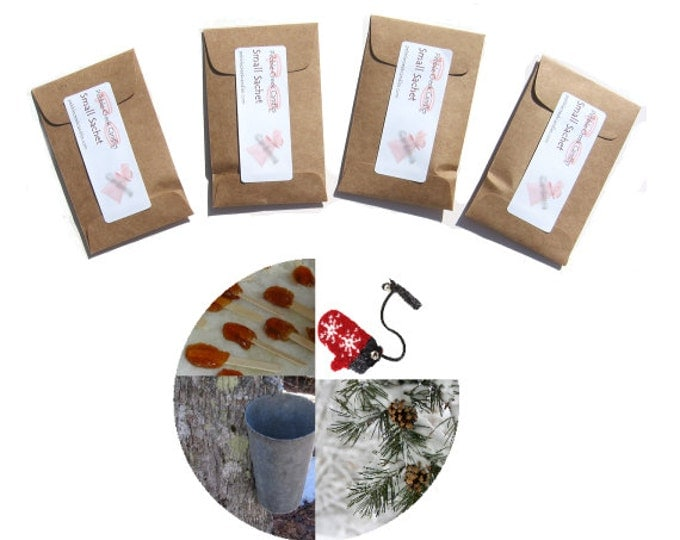 Cheap Stocking Stuffer Christmas Snow Candy Sachets Scented Seed Packet Favors Place Cards Personalized Kraft Brown Colors Winter Wedding