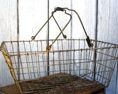 Vintage Metal Basket, Market Basket, Industrial Storage, Large w/ Double Handle