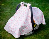 Baby Car Seat Cover - Pink Lattice