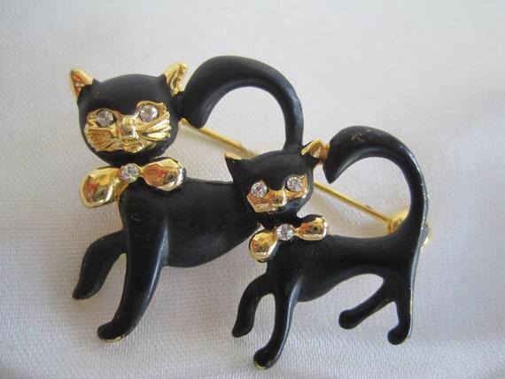 Vintage Black Cats Figural Rhinestone Brooch Pin