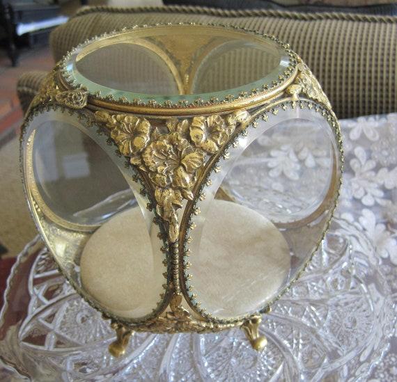 Gold Ormolu Beveled Display Jewelry Box