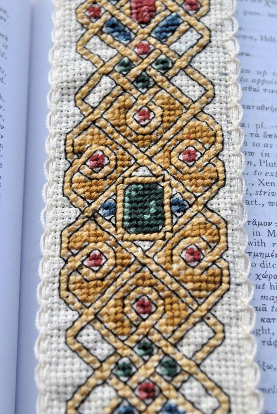 Celtic Jewel Embroidered Bookmark