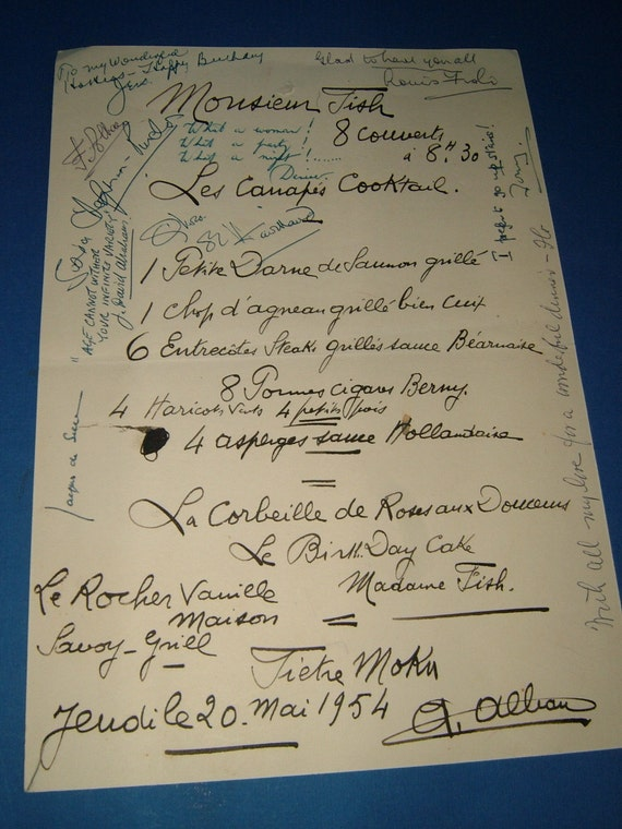 Signed 1954 A La Carte Menu from the Savoy Grill French Restaurant in London - Gordon Ramsay