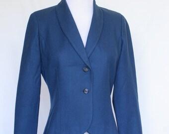 70's Vintage Pendleton Jacket, Wool Jacket, Blue Jacket, Ladies Jacket