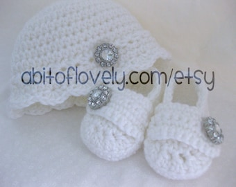 Baby Girl, Baby Shoes, Baby Hat, SET, Pink, White, Newborn, Newborn Photos, Photo Prop