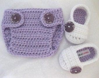 Baby Girl Boots, Diaper Cover, SET, Purple, White, Newborn, Newborn Photos, Photo Prop