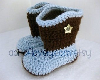 Baby Boy Boots / Shoes - Brown & Light Blue, Star - YOUR choice size - (newborn - 12 months) - photo prop - children