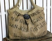Eco-Friendly Burlap Coffee Sack Bag with Large Button and Hemp Webbing