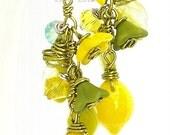LEMON TREE, Fruity Artist Earrings, .925 Sterling Silver, Swarovski Crystal, Lemon, Lime, Australian Made