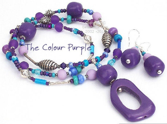 Artist Necklace and Earrings, THE COLOUR PURPLE, Thai silver, Tuirquoise, long, Australian Made