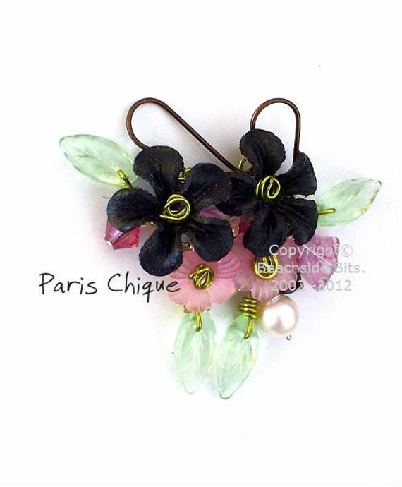 PARIS CHIQUE, Artist Leather Flower Earrings, Niobium, .925 Sterling Silver, Freshwater Pearls,Swarovski Crystal, Australian Made
