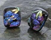 Golden dragonflies and purple/blue flower dichroic glass post earrings