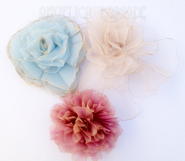 Angelica Brigade High / Couture Quality Handmade Hair Fascinator / Headpiece / Headdress / Floral Clips - a set of 3 clips - in pale baby blue , palest warm beige , iridescent pink and peach rainbow sorbet , Gigantic but Extremely Lightweight, Unusual, Unique, Dramatic, Feminine, Neo Rococo, Marie Antoinette, Sweet, Elegant, Gothic Lolita, Cute, Can be made in custom colors, bespoke, Etsy, http://www.angelica-brigade.com AngelicaBrigade, teardrop fascinator, silk flower, silk floral clips