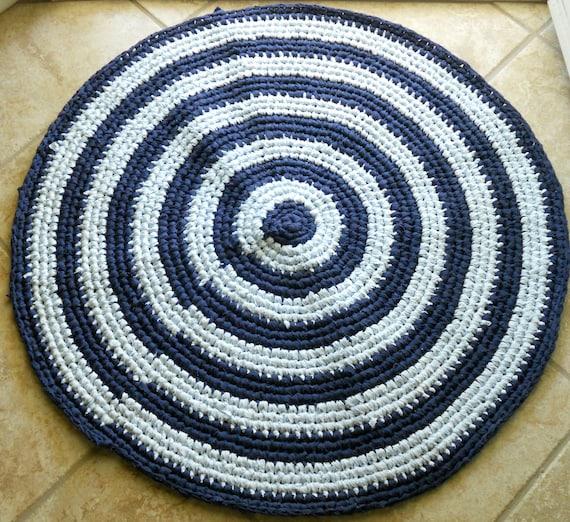 Shades of blue rag rug, floor mat, crochet rug, home decor, pet mat, floor rug, kitchen decor, area rug, large crochet rug, circle rag rug
