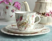 Beautiful early English tea set: delicate pink flower pattern perfect for a summer tea party or a special gift