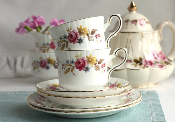 Pretty tea set for a summer day: Royal Stafford bone china tea cup, saucer and plate, perfect for a summer tea party