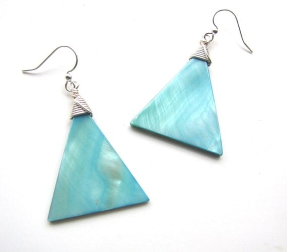 Wire Wrapped Shell Earrings in Teal and Silver Handmade