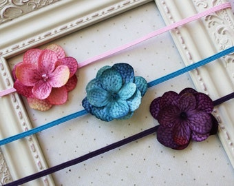Set of 3 Hydrangea Headbands, baby headband, newborn headbands, girls headbands, hydrangea headbands, photography prop