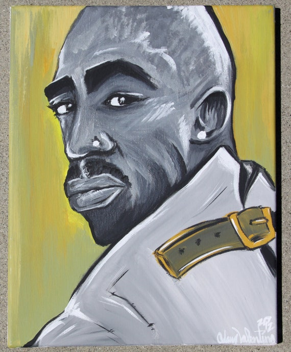 Tupac Shakur Straight Jacket Vibe Cover Acrylic painting by Adam Valentino 11x14 stretched framed canvas