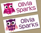 Personalized Waterproof Label Stickers - Girl - Patchwork Owls - Perfect for Bottles, Sippy Cups, Daycare, School - Dishwasher Safe - 00