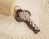 RESERVED FOR MLEA1203 Wine Cork Keychain Vintage Key - Clear Rhinestone Cluster Chain