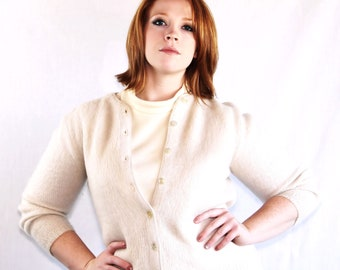 SALE 60s Sweater / Mad Men / Mohair / Cuddle Knit / Cardigan / Sweater Girl / Beige