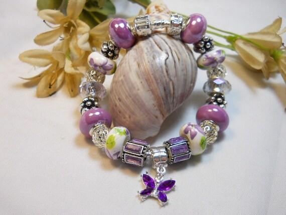 European Style Bracelet, Purple Butterfly and Roses, Murano Glass Beaded Bracelet, Women's Bracelet, Spring Bracelet