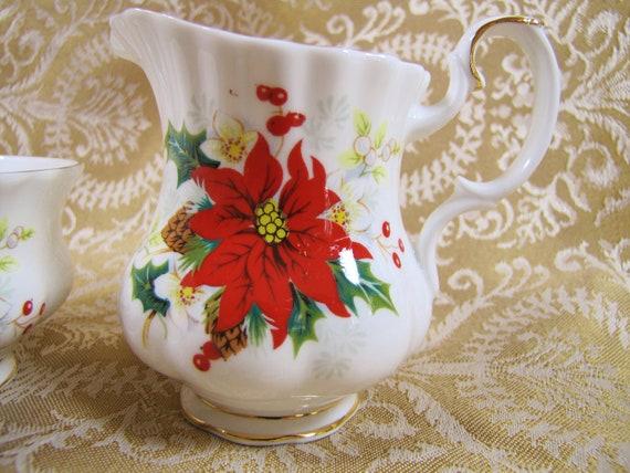 Royal Albert Poinsettia Creamer and Open Sugar Bowl Set- Vintage Bone China- Made in England