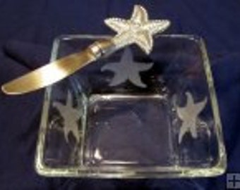 Starfish Spreader and Square Bowl Set