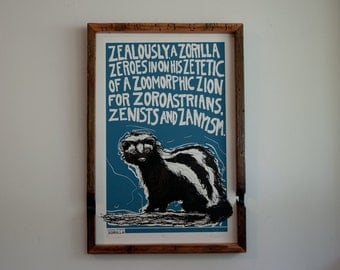 "Zorilla Hand Pulled Screen Print Poster 12"" x 18"" - Animal Alphabet Series Skunk"