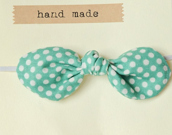 RESERVED FOR KELSEY Knotted Twist Headband-Mint Green with cream Polka dot Knot Bow on a skinny cream elastic headband