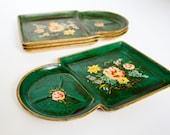 Vintage Green Paper Mache Snack Trays Mid Century